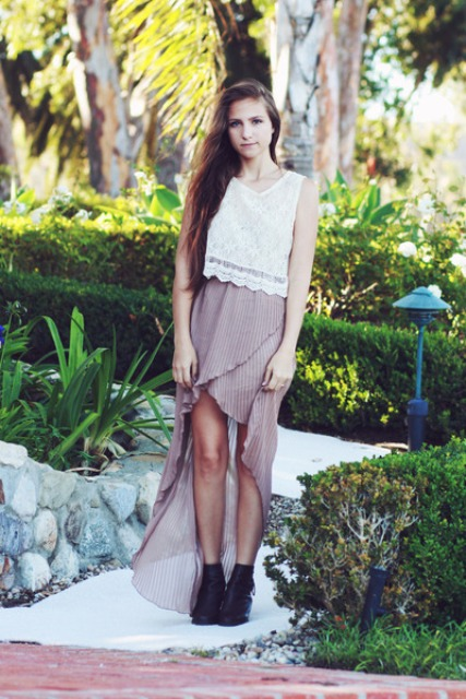 Pleated waterfall skirt and lace top
