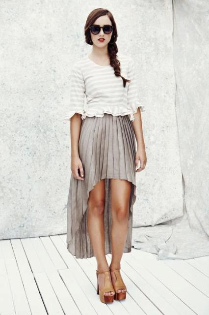 Pleated waterfall skirt and platform sandals