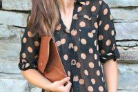 Polka dot sheer blouse with nude bra