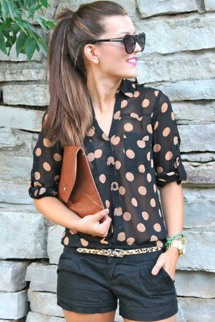 Polka dot sheer blouse with nude bra
