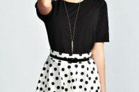 Polka dot skater skirt and black shirt