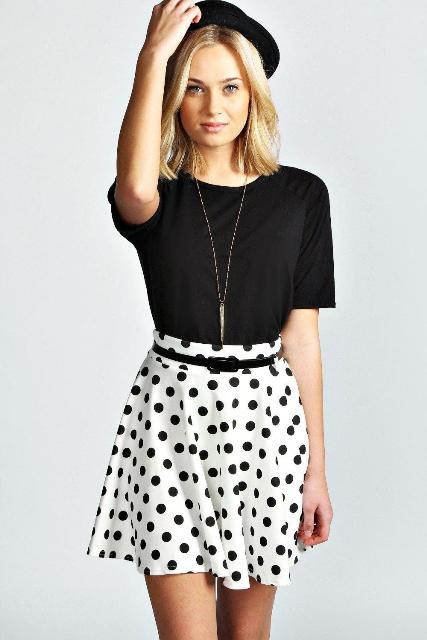 picture of polka dot skater skirt and black shirt