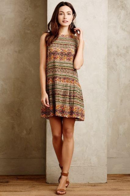 Print drop waist dress