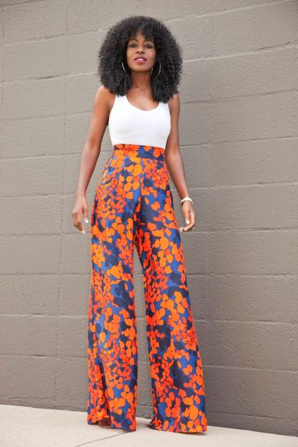 Printed high waist pants with white top