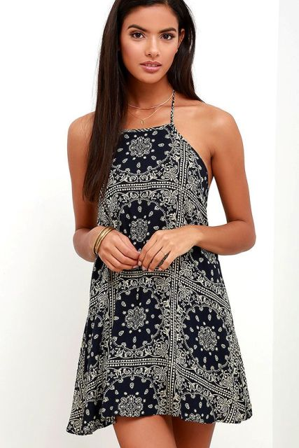 Printed mini halter dress