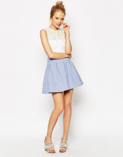 Romantic look with skater skirt and white blouse