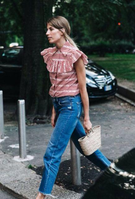 Ruffle shirt with boyfriend jeans