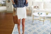 Scallop hem white skirt and plaid shirt