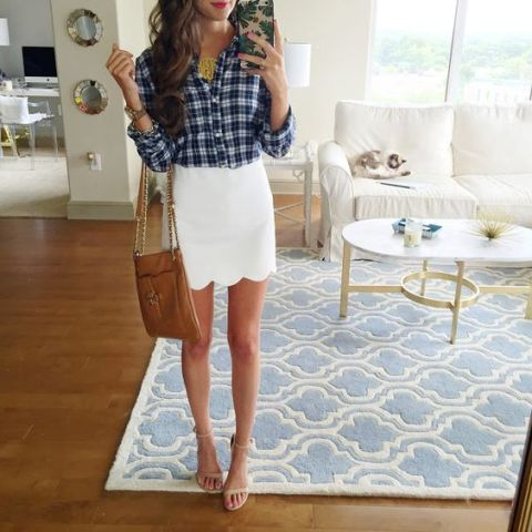Scallop hem white skirt and plaid shirt