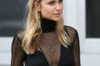 Sexy black sheer blouse