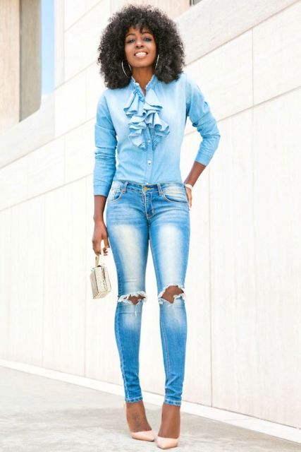 Shirt with ruffles and jeans