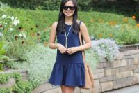 Simple blue drop waist dress with sandals