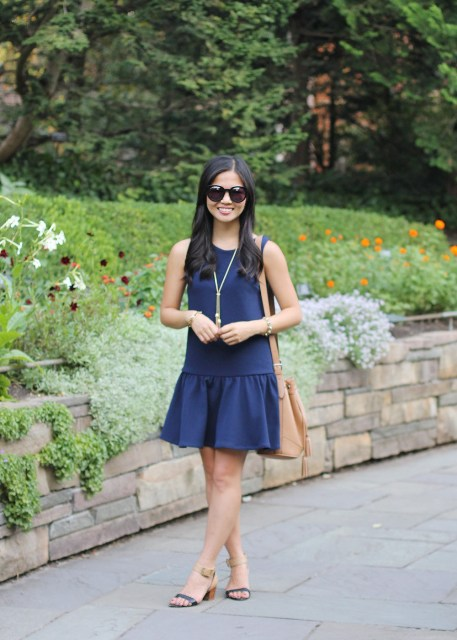 Simple blue drop waist dress with sandals