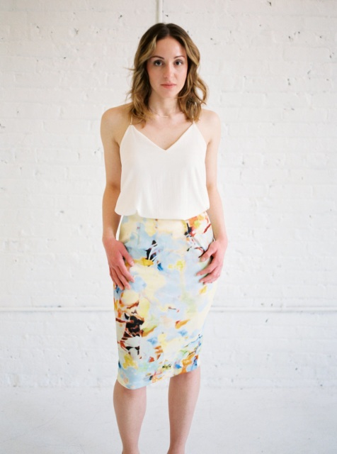 Simple look with watercolor pencil skirt and white shirt
