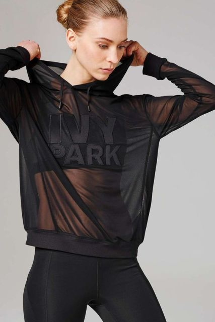 Sporty black sheer sweatshirt