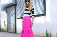 Striped crop top with bright pink trumpet skirt