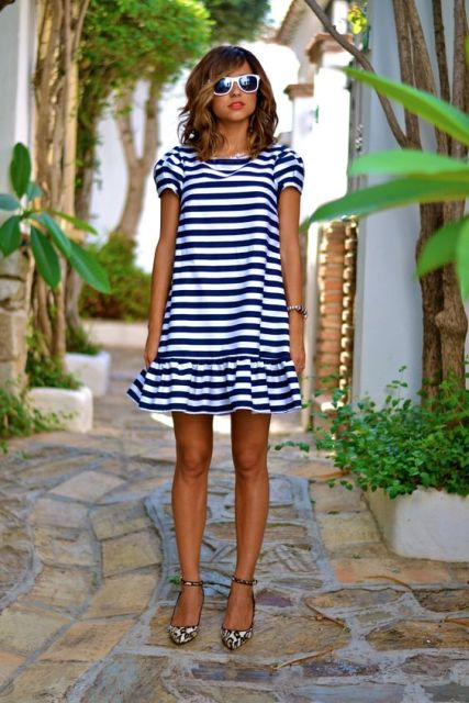 Striped drop waist dress and printed flats