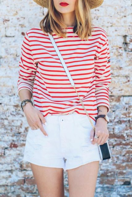 Striped shirt and white shorts