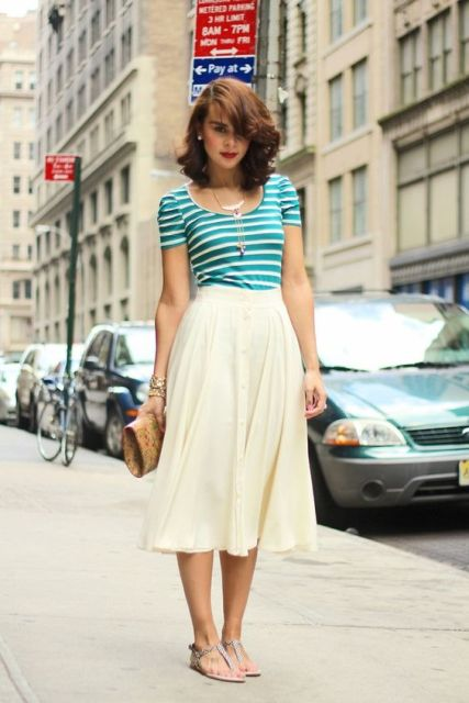 Striped shirt with airy white skirt