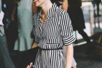 Striped shirtdress with belt