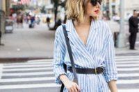 Striped wrap dress with belt