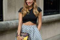 Stylish top and polka dot skirt