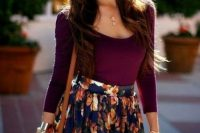 Summer look with floral skirt