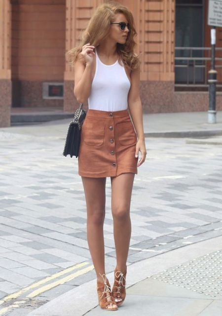 Summer look with top and mini button front skirt