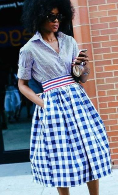 Super stylish checked skirt