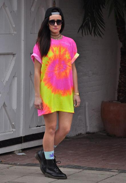 Super stylish tie dye t-shirt dress and boots