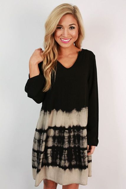 Tie dye dress in dark shades