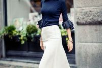 Trendy look with midi skirt and bell sleeve shirt