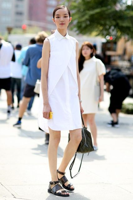 Trendy look with white shirtdress and flat sandals