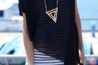 Trendy loose sheer shirt with tight dress