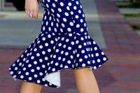 Trumpet skirt with polka dot print