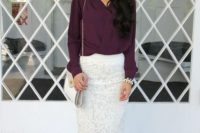 Unique combination of white lace skirt and dark color shirt
