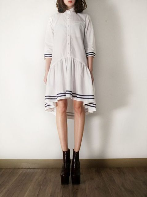 Unique drop waist dress with stripes