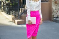 Unique look with bright pink lace skirt and white button-down shirt
