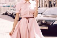 Very feminine shirtdress with leather belt