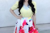 Watercolor A-line skirt with pastel yellow blouse