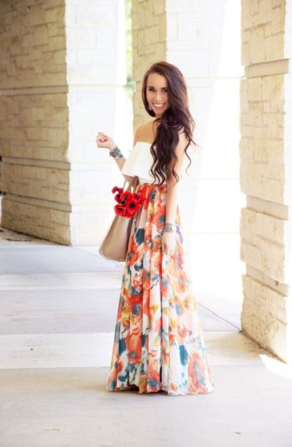 Watercolor maxi skirt with off shoulder top