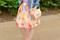 Watercolor skirt with denim jacket and lace up flats