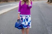 Watercolor skirt with purple sweatshirt