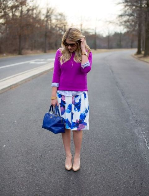 Watercolor skirt with purple sweatshirt