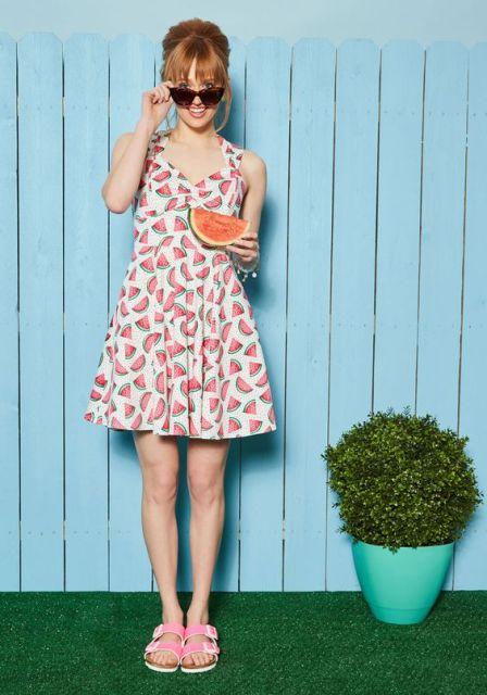 Watermelon print dress for summer