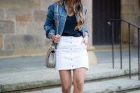 White skirt with denim jacket