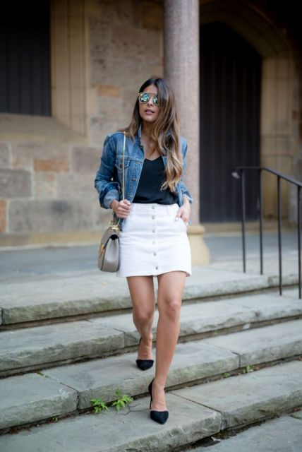 White skirt with denim jacket