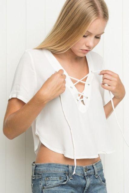 White crop lace up shirt
