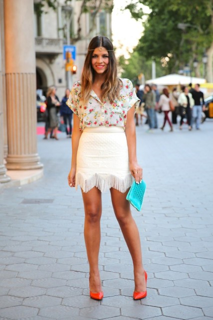 White fringe skirt and floral blouse