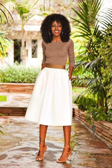 White midi skirt with neutral shirt
